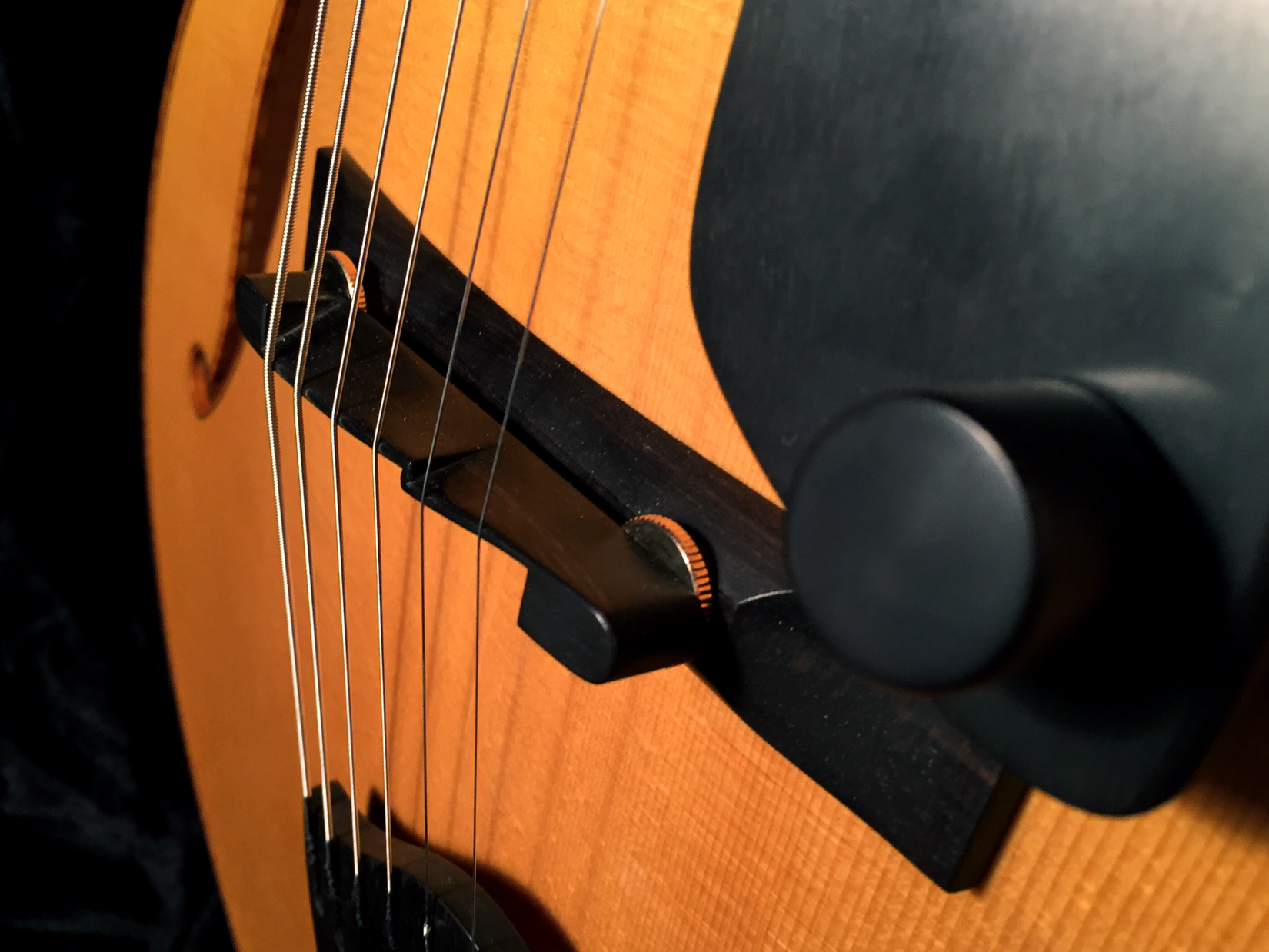 Adjustable and compensated ebony bridge