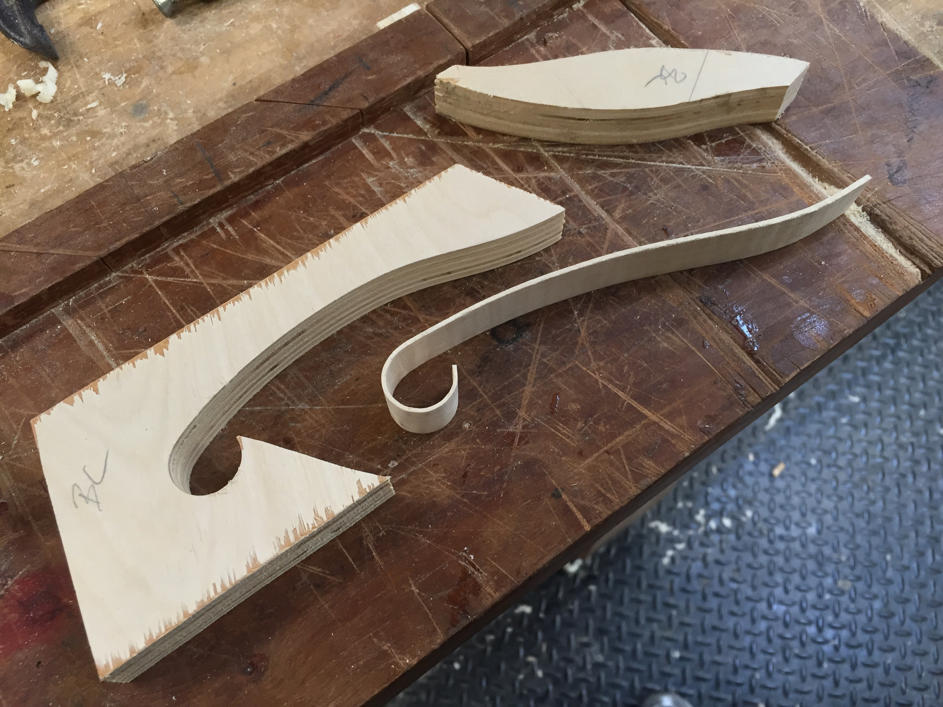 Positive and negative fhole molds with cooled maple binding