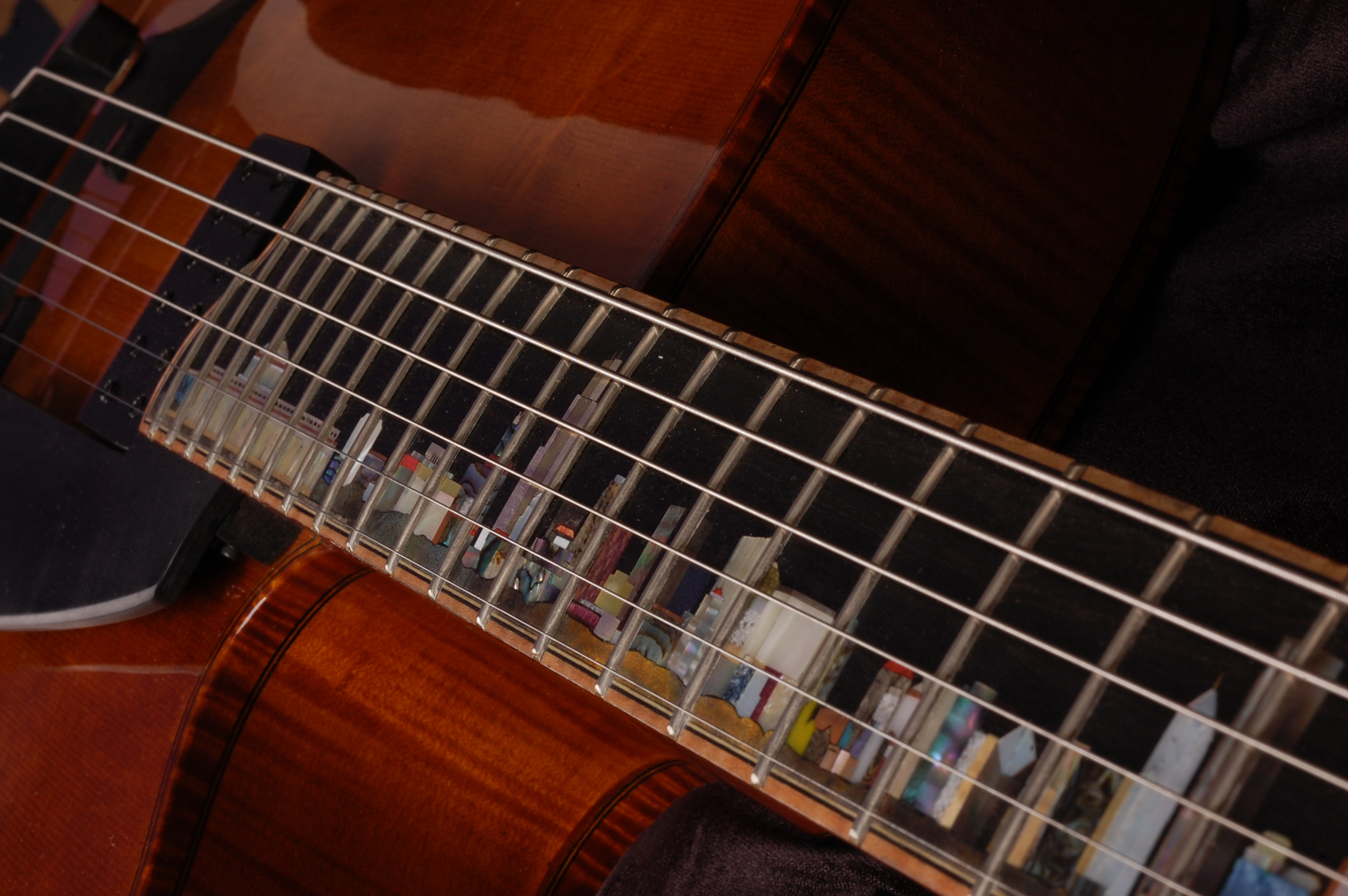 Fingerboard inlay in perspective