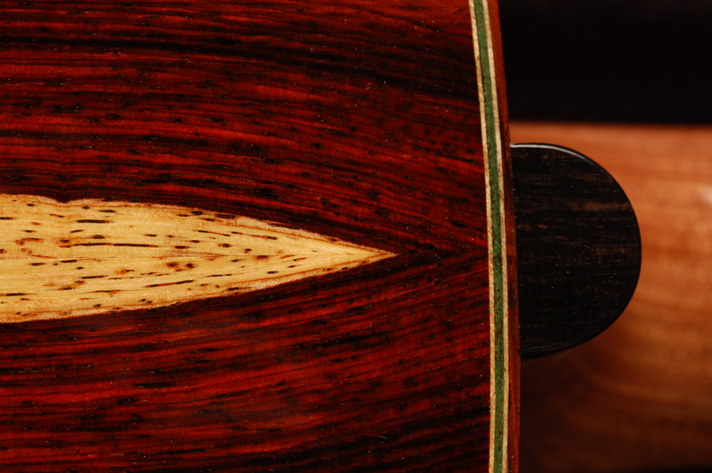 Heel cap detail with Cocobolo Sapwood